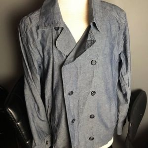 Men forever21 chambray linen pea coat double M